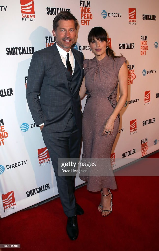 Actors Nikolaj Coster-Waldau (L) and Lake Bell attend a screening of Saban Films and DIRECTV's 'Shot Caller' at The Theatre at Ace Hotel on August 15, 2017 in Los Angeles, California.