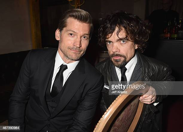 "Actors Nikolaj Coster-Waldau and Peter Dinklage attend the after party for HBO's ""Game of Thrones"" Season 5 at San Francisco City Hall on March 23,..."