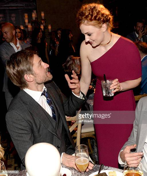 Actors Nikolaj CosterWaldau and Sophie Turner attend the after party at the premiere for the sixth season of HBO's 'Game Of Thrones' at TCL Chinese...