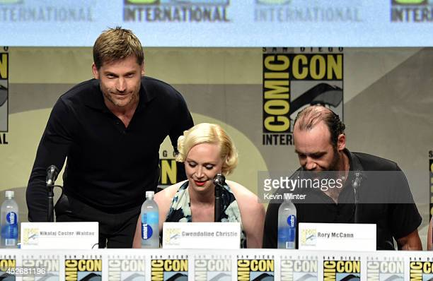 Actors Nikolaj CosterWaldau Gwendoline Christie and Rory McCann attend HBO's 'Game Of Thrones' panel and QA during ComicCon International 2014 at San...