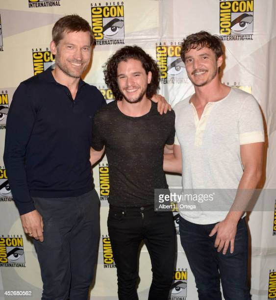 Actors Nikolaj CosterWaldau Kit Harington and Pedro Pascal attend HBO's 'Game Of Thrones' panel and QA during ComicCon International 2014 at San...