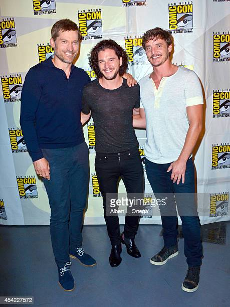 Actors Nikolaj CosterWaldau Kit Harington and Pedro Pascal HBO's 'Game Of Thrones' Panel And QA on Friday Day 2 of ComicCon International 2014 held...