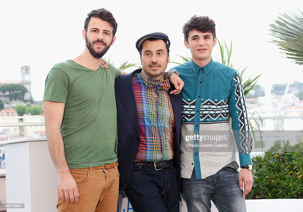 Actors Nikos Gelia, director Panos Koutras and actor Kostas Nikouli attend the 'Xenia' photocall at the 67th Annual Cannes Film Festival on May 19, 2014 in Cannes, France.