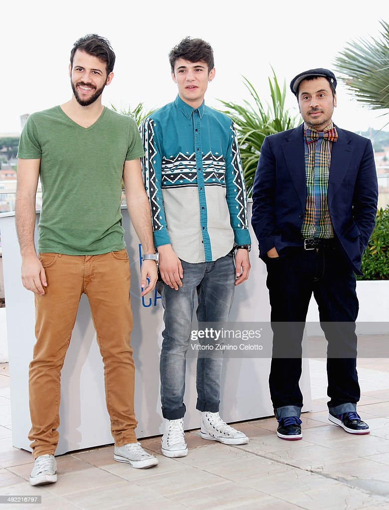 Actors Nikos Gelia, Kostas Nikouli and director Panos Koutras attend the 'Xenia' photocall at the 67th Annual Cannes Film Festival on May 19, 2014 in Cannes, France.