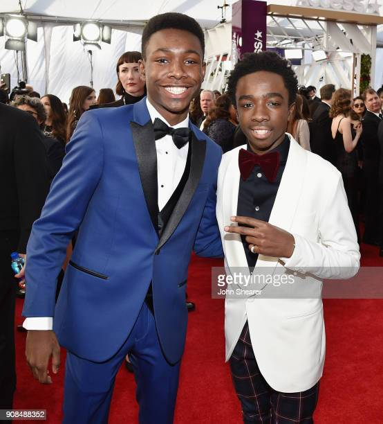 Actors Niles Fitch and Caleb McLaughlin attend the 24th Annual Screen Actors Guild Awards at The Shrine Auditorium on January 21 2018 in Los Angeles...