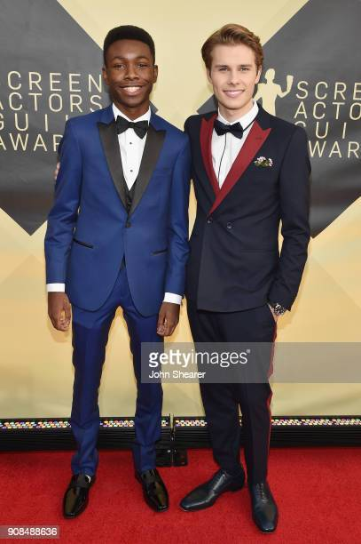 Actors Niles Fitch and Logan Shroyer attend the 24th Annual Screen Actors Guild Awards at The Shrine Auditorium on January 21 2018 in Los Angeles...