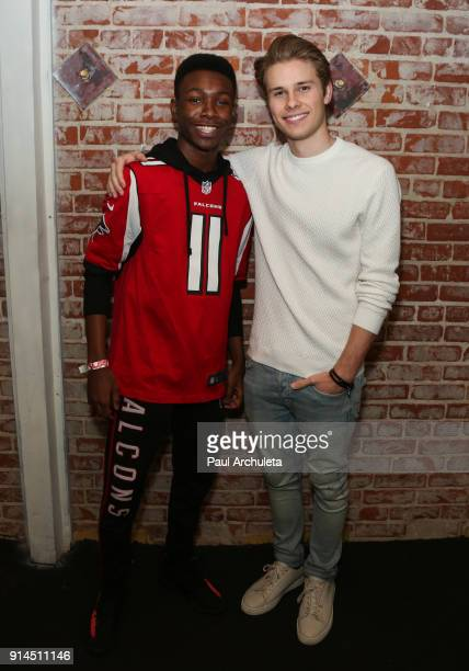 Actors Niles Fitch and Logan Shroyer attend the private Super Bowl/episode viewing party hosted by 'This Is Us' Star Niles Fitch at Candela on...