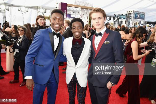 Actors Niles Fitch Caleb McLaughlin and Logan Shroyer attend the 24th Annual Screen Actors Guild Awards at The Shrine Auditorium on January 21 2018...