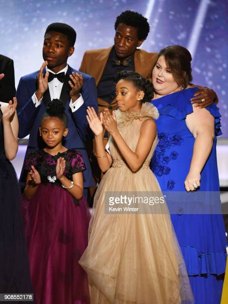 Actors Niles Fitch Faithe Herman Eris Baker Jermel Nakia and Chrissy Metz accept the Outstanding Performance by an Ensemble in a Drama Series for...