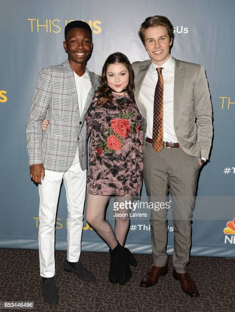 Actors Niles Fitch Hannah Zeile and Logan Shroyer attend the finale screening of 'This Is Us' at Directors Guild Of America on March 14 2017 in Los...