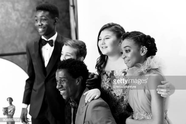 Actors Niles Fitch Parker Bates Jermel Nakia Mackenzie Hancsicsak and Eris Baker pose together with award for Outstanding Performance by an Ensemble...