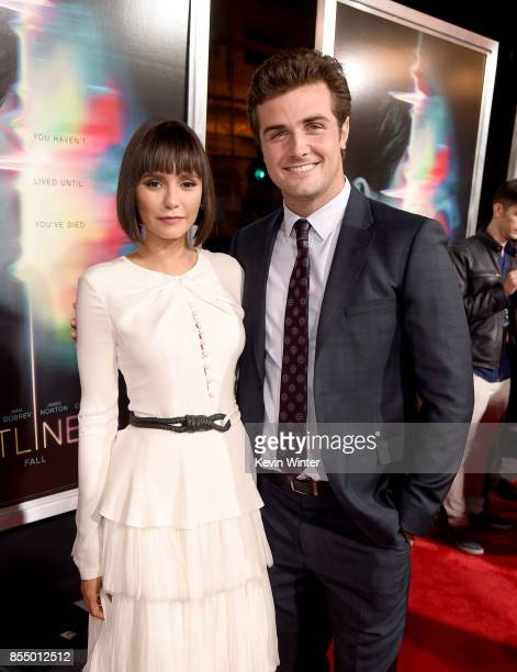 Actors Nina Dobrev and Beau Mirchoff arrive at the premiere of Columbia Pictures' 'Flatliners' at the Ace Theatre on September 27 2017 in Los Angeles...