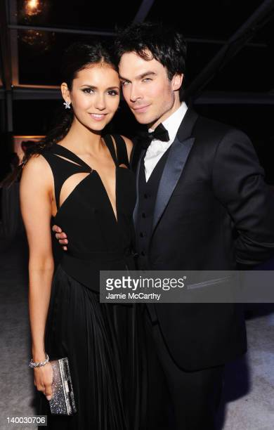Actors Nina Dobrev and Ian Somerhalder attend the 20th Annual Elton John AIDS Foundation Academy Awards Viewing Party at The City of West Hollywood...