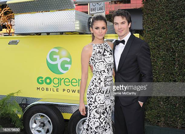 Actors Nina Dobrev and Ian Somerhalder attend the 21st Annual Elton John AIDS Foundation Academy Awards Viewing Party at West Hollywood Park on...