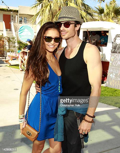 Actors Nina Dobrev and Ian Somerhalder attend the Burton Snowboards Coachella pool party and BBQ at Ace Hotel on April 14 2012 in Palm Springs...