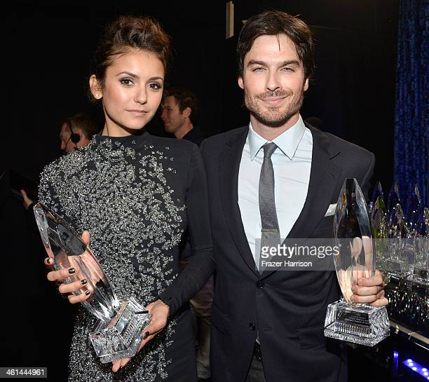 "Actors Nina Dobrev and Ian Somerhalder, winners of the Favorite On Screen Chemistry award for ""The Vampire Diaries,"" attend The 40th Annual People's..."