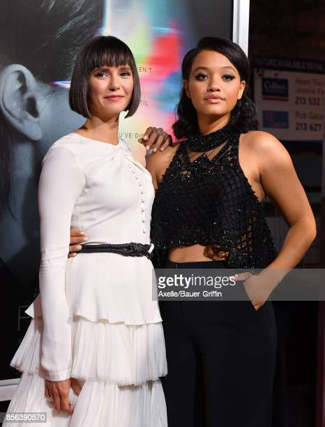 Actors Nina Dobrev and Kiersey Clemons arrive at the premiere of 'Flatliners' at The Theatre at Ace Hotel on September 27 2017 in Los Angeles...