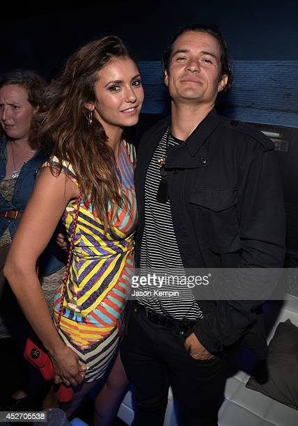 "Actors Nina Dobrev and Orlando Bloom attend the Playboy and AE ""Bates Motel"" Event During ComicCon Weekend on July 25 2014 in San Diego California"