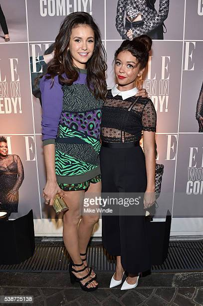 Actors Nina Dobrev and Sarah Hyland attend the Women In Comedy event with July cover stars Leslie Jones Melissa McCarthy Kate McKinnon and Kristen...