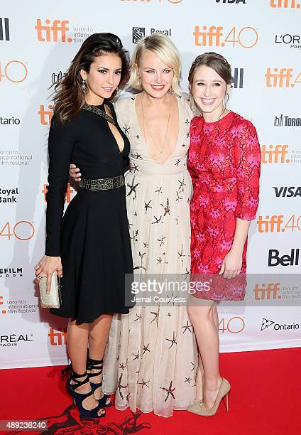 Actors Nina Dobrev Malin Akerman and Taissa Farmiga attend the 'Final Girls' photo call during the 2015 Toronto International Film Festival at the...