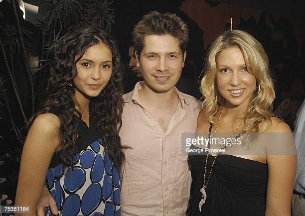 Actors Nina Dobrev Mike Lobel and Miriam McDonald from the TV Series 'Degrassi' at The Drake Night Club for the 'Hairspray' After Party on July 9...