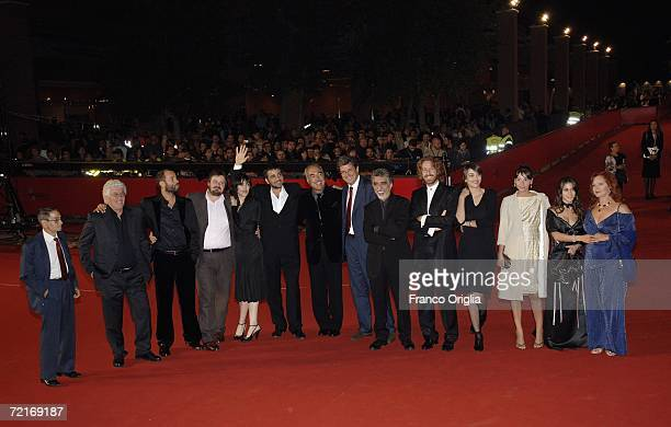 Actors Ninetto Davoli Fabio VoloGiuseppe Battiston Anita Caprioli director Eugenio Cappuccio actresses Tresy Taddei and Agostina Belli attend the...