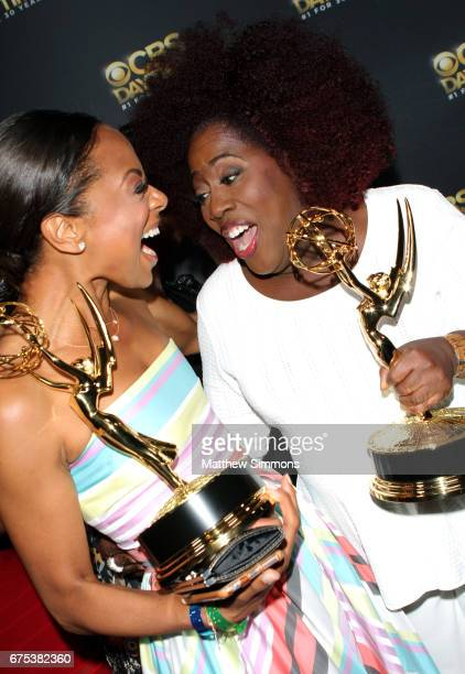 Actors Nischelle Turner and Sheryl Underwood attend the CBS Daytime Emmy after party at Pasadena Civic Auditorium on April 30 2017 in Pasadena...