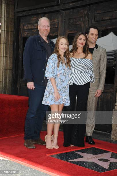 Actors Noah Emmerich Holly Taylor Keri Russell and Matthew Rhys pose at the ceremony that honored Keri Russell with a Star on The Hollywood Walk of...