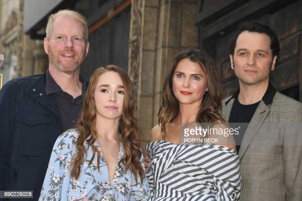 Actors Noah Emmerich Holly Taylor Keri Russell and Matthew Rhys attend the unveiling ceremony as Keri Russell is honored with a star on the Hollywood...
