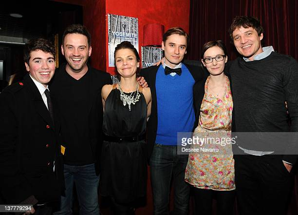 Actors Noah Galvin playwright Daniel Talbott Kathryn Erbe Seth Numrich Libby Woodbridge and director Pedro Pascal attend the 'Yosemite' opening night...