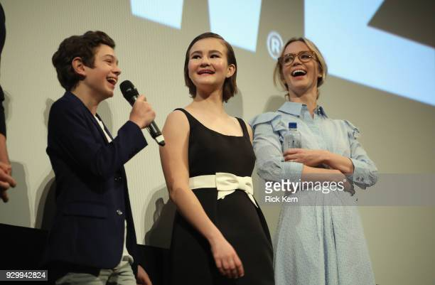 Actors Noah Jupe, Millicent Simmonds and Emily Blunt attend the Opening Night Screening and World Premiere of 'A Quiet Place' during the 2018 SXSW...