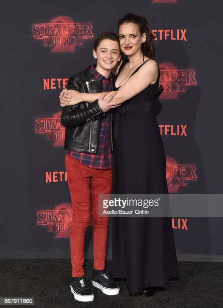 Actors Noah Schnapp and Winona Ryder arrive at the premiere of Netflix's 'Stranger Things' Season 2 at Regency Bruin Theatre on October 26 2017 in...