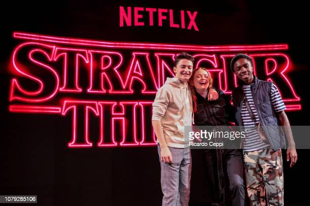 Actors Noah Schnapp Caleb McLaughlin and actress Sadie Sink pose after the Stranger Things panel during day 2 of Argentina Comic Con 2018 at Costa...