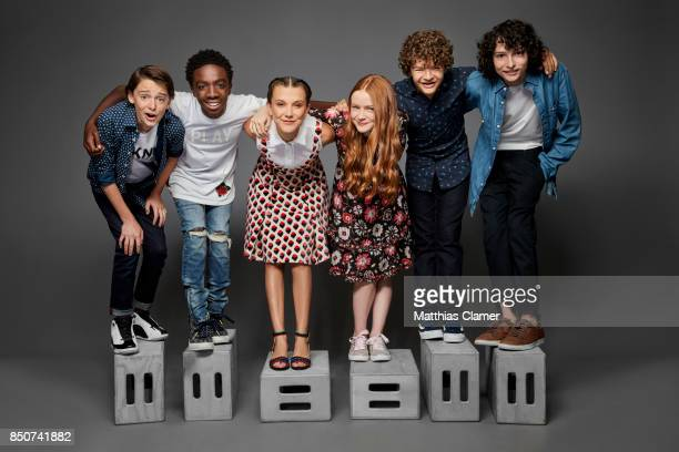 Actors Noah Schnapp Caleb McLaughlin Millie Bobby Brown Sadie Sink Gaten Matarazzo and Finn Wolfhard from Stranger Things are photographed for...