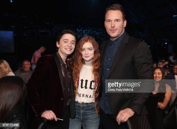 Actors Noah Schnapp Sadie Sink and Chris Pratt attend the 2018 MTV Movie And TV Awards at Barker Hangar on June 16 2018 in Santa Monica California