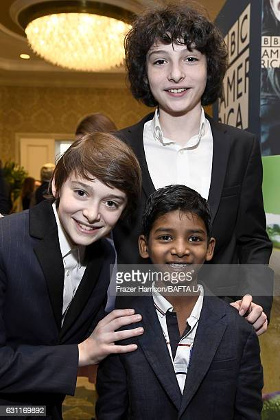 Actors Noah Schnapp Sunny Pawar and Finn Wolfhard attend The BAFTA Tea Party at Four Seasons Hotel Los Angeles at Beverly Hills on January 7 2017 in...