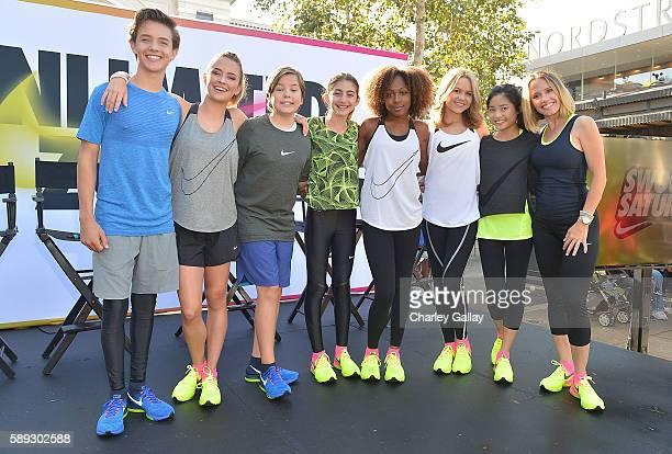 Actors Noah Urrea Sixx Orange Gabe Eggerling Sophia Mitri Schloss Emyri Crutchfield Isabella Acres Ashley Liao and Monica Lacy attend Nike Young...
