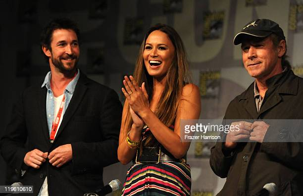Actors Noah Wyle Moon Bloodgood and Will Patton speak at TNT's Falling Skies panel during ComicCon 2011 at the ComicCon Conference Center on July 22...