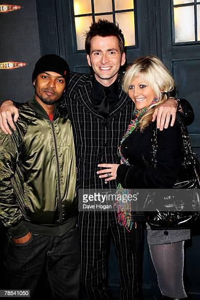 Actors Noel Clarke David Tennant and Camille Coduri attend the gala screening of the 'Doctor Who' Christmas episode at the Science Museum on December...
