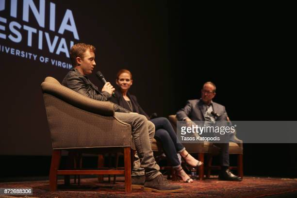Actors Noel Fisher and Katherine Willis and moderator John Kelly speak onstage at 'The Long Road Home' screening and QA at Culbreth Theatre during...