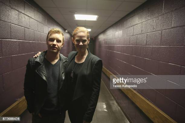 Actors Noel Fisher and Katherine Willis pose backstage at 'The Long Road Home' screening and QA at Culbreth Theatre during the 30th Annual Virginia...