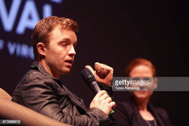 Actors Noel Fisher and Katherine Willis speak onstage at 'The Long Road Home' screening and QA at Culbreth Theatre during the 30th Annual Virginia...