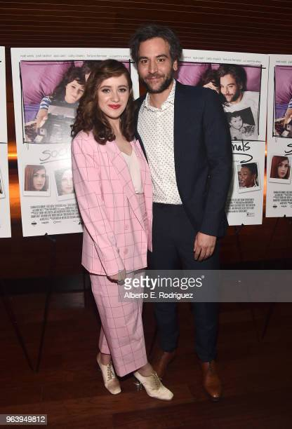 Actors Noel Wells and Josh Radnor attend the Premiere Of Paramount Pictures And Vertical Entertainment's Social Animals at The Landmark on May 30...