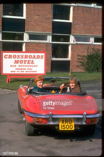 Actors Noele Gordon and Roger Tonge in character as Meg and Sandy Richardson in television soap Crossroads, circa 1980.