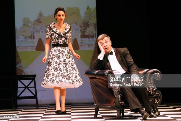 Actors Noemie Elbaz and JeanPierre Michael perform in the 'Un fil a la patte' Theater Play Runthrough at Theatre Montparnasse on May 17 2018 in Paris...