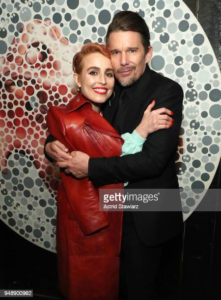 Actors Noomi Rapace and Ethan Hawke attend 2018 Tribeca Film Festival afterparty for 'Stockholm' at Up Down on April 19 2018 in New York City