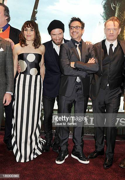 Actors Noomi Rapace Jude Law Robert Downey Jf and Jared Harris arrive at the European Premiere of 'Sherlock Holmes A Game of Shadows' at Empire...
