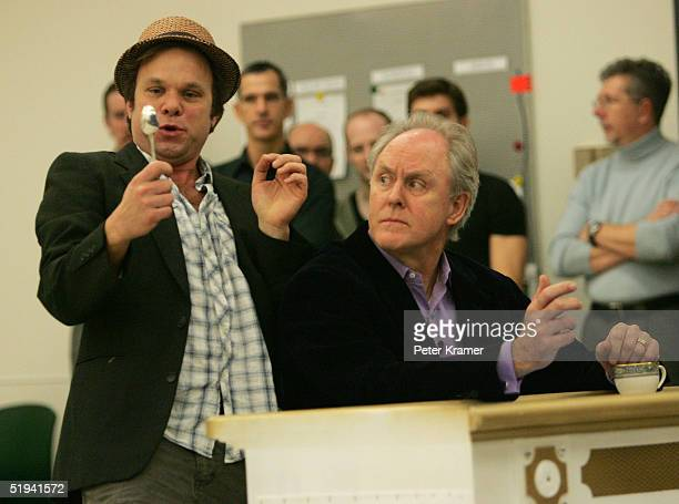 Actors Norbert Leo Butz and John Lithgow rehearse scenes from their new musical Dirty Rotten Scoundrels which will preview on January 31 on January...
