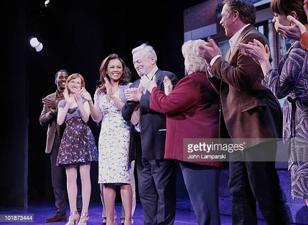 Actors Norm Lewis Erin Mackey Euan Morton Vanessa Williams Stephen Sondheim Barbara Cook and Tom Wopat bow on stage at the Roundabout Theatre...