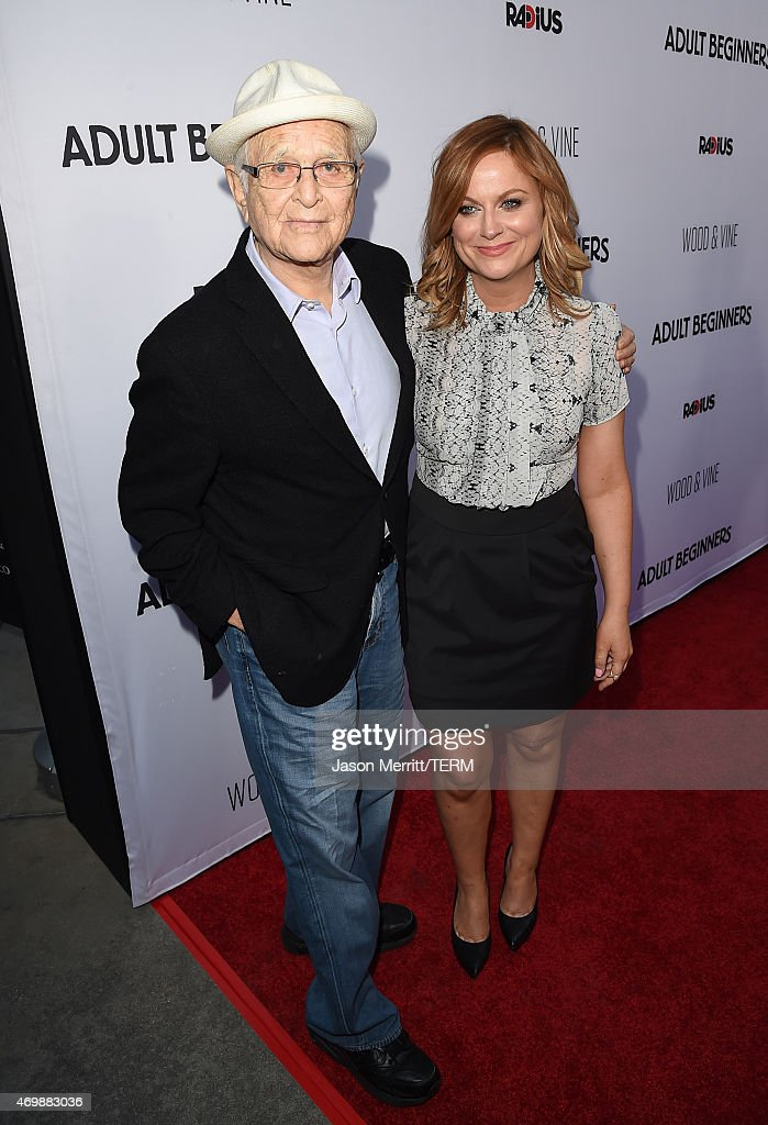 Actors Norman Lear and Amy Poehler attend the premiere of 'Adult Beginners' at ArcLight Hollywood on April 15, 2015 in Hollywood, California.